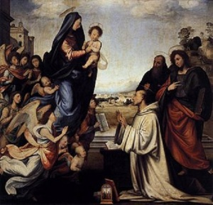 1 330px-Fra_bartolomeo_02_Vision_of_St_Bernard_with_Sts_Benedict_and_John_the_Evangelist
