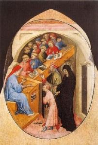 1 17_Nicolo_di_Pietro__1413-15__The_Saint_Augustine_Taken_to_School_by_Saint_Monica__Pinacoteca,_Vatican_