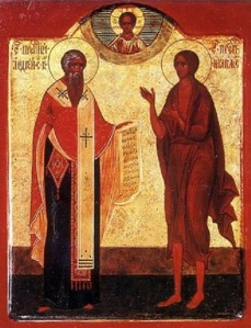 Russian icon depicting Saint Andrew of Crete (left) and Saint Mary of Egypt