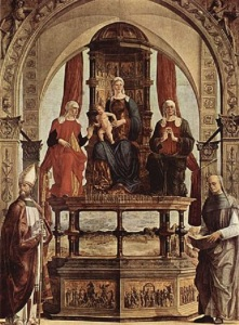 Saint Peter Damian (far right), depicted with Saints Augustine, Anne, and Elizabeth