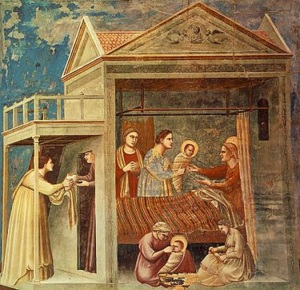 The Birth of the Virgin Mary by Giotto, in the Scrovegni Chapel, Padua, Italy (circa 1305)
