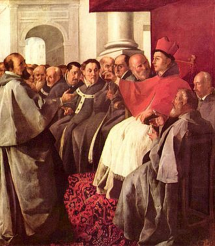 St. Bonaventure receives the envoys of the Byzantine Emperor at the Second Council of Lyon.