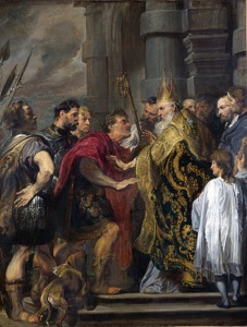 Saint Ambrose barring Theodosius from Milan Cathedral by Anthony van Dyck