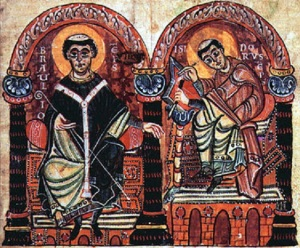 Braulio and Isidore of Seville. From the Isidori libri originum, second half of the 10th century