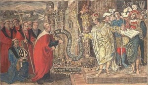 Later engraving of a picture commissioned in 1519 showing Cædwalla confirming a grant of land, at Selsey, to Wilfrid