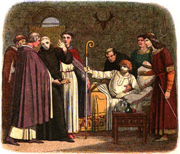 A 19th-century portrayal of Anselm being dragged to the cathedral by the English bishops.