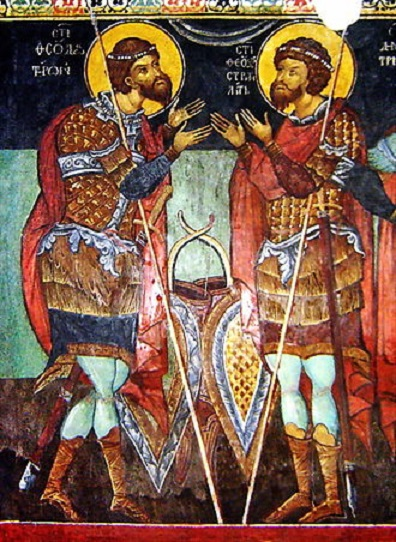 Saints Theodore of Amasea and Theodore Stratelates in a fresco from Kremikocvtsi Monastery, near Sofia, Bulgaria