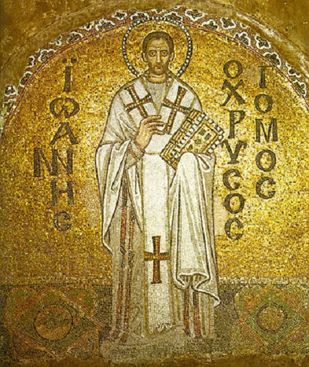 A Byzantine mosaic of John Chrysostom from the Hagia Sophia.