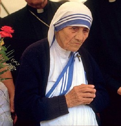 Mother Teresa at a pro-life meeting in 1986 in Bonn, West Germany