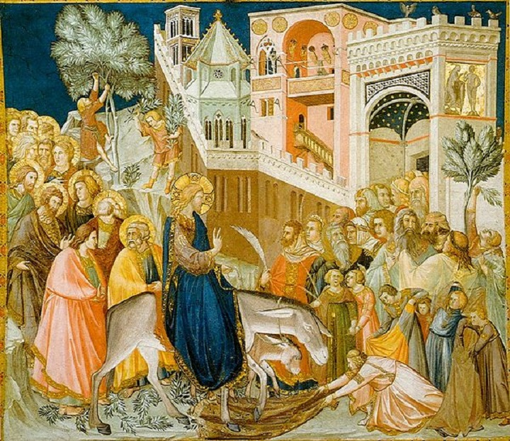Entry of Christ into Jerusalem (1320) by Pietro Lorenzetti: entering the city on a donkey symbolizes arrival in peace rather than as a war-waging king arriving on a horse[