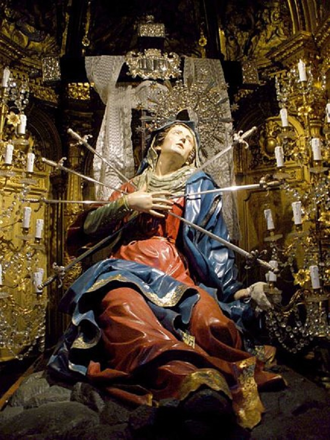Seven Swords Piercing the Sorrowful Heart of Mary in the Church of the Holy Cross, Salamanca, Spain.